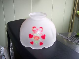 Vintage Hurricane Lamp Shade Globe Small Frosted Hand Painted