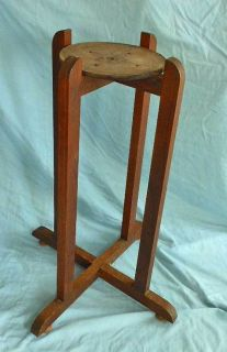 Antique Mission Oak Plant Stand Table Pedestal Old Dark Surface Arts