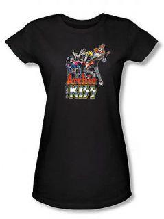 Archie Comics Meets Kiss Rock Band Juniors Babydoll T Shirt Tee