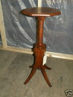 Antique Eastlake Style Chestnut or Oak Pedestal Plant Stand Table