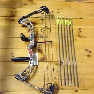 Rally 18 31 21 70# Compound Bow Package Arrows rest sight loop peep