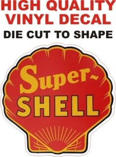 Vintage Style Super Shell Gasoline Gas Oil Pump Decal The Best or 100