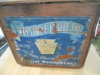 ANTIQUE  WOODEN FRUIT CRATE:KEYSTONE FRUIT COMPANY:KEYSTO NE BRAND