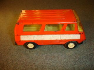 Old Vtg Antique Collectible Orange Pressed Steel TONKA Toy Van