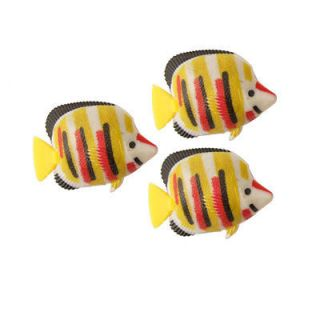 Colored Stripes Aquarium Fake Tropical Fish Decor 3 Pcs