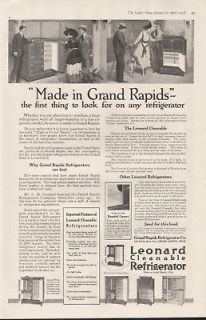 1918 LEONARD FRIDGE APPLIANCE GRAND RAPIDS KITCHEN HOME