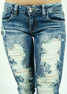 NWT MACHINE JEANS DESTROYED RIPPED DISTRESSED WOMENS STONE WASHED