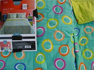 Quilt Set Circles/Dots or Color Block Aqua Blue/Brown Bright Lime