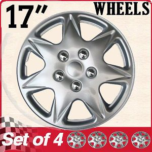 Piece Set 17 Inch Fit Hub Cap Silver Lug Full Skin Rim Cover for