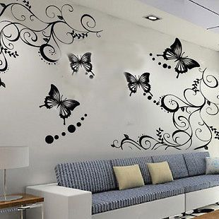 Vine Flower Butterfly Removable Wall Sticker Home Decor Art Decal