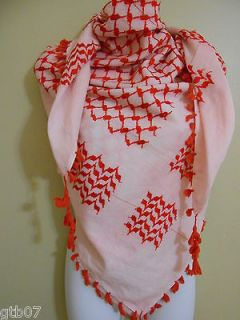 Red Arab Shemagh Head Scarf Neck Wrap Authentic 100% Cottton Minor