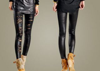 Women Faux Leather Ripped #202 Lady Slim Tights Pantyhose Stockings