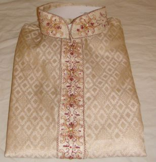 Cream Exclusive Mens Designer Kurta Salwar Kameez Hijab galore indian