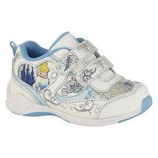 Toddler girl silver blue white Disney Princess Cinderella velcro shoe