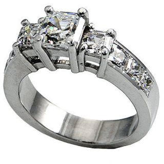 50 CTW ASSCHER CUT 3 STONE ENGAGEMENT RING W/ACCENTS SOLID .925