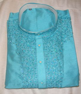 Blue Mens silk Kurta indian Designer Salwar kameez sherwani Plus