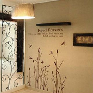 New DIY Wall Paper Art Decor Decal Stickers Reed Flowers Coffee