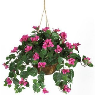 24 Pink Bougainvillea Hanging Basket   Silk Flower Arrangement