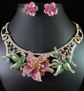 PAINTED SEXY AUSTRIAN RHINESTONE CRYSTAL CHOKER NECKLACE EARRINGS SET