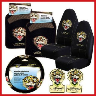 Ed Hardy Tiger 7PC Car Seat Covers Accessories Set