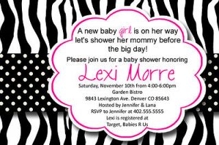 Pink Zebra Print Polka Dot Baby or Bridal Shower Invitation Card