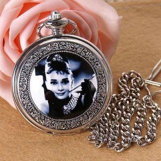 Vintage Audrey Hepburn Antique Style pendant Necklace Quartz Pocket