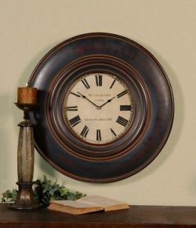 Masculine Dark Wood Wall Clock Traditional Antique Round Horchow Luxe