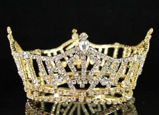FULL CROWN CLEAR AUSTRIAN RHINESTONE CRYSTAL TIARA PAGEANT BRIDAL