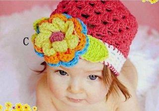 Red Handmade Baby Boy Girl Children Crochet Knitting Flower Beanie