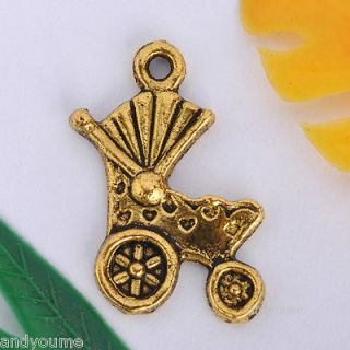 20/40/100pcs Gold Plated Baby Carriage Charm Pendant 19x12MM 0483j