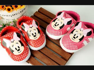 Baby Girl Red Pink Dots Mouse Mini Sneakers shoes UK size 1 2 3