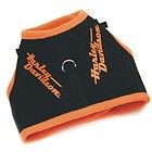Harley Davidson Orange Fleece Black Canvas Logo Dog Harness Vest XS