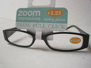 Zoom Impressions Reading Glasses +1.25 Black rhinestone Push Pull