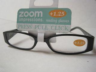 Zoom Impressions Reading Glasses +1.25 Black rhinestone Push Pull
