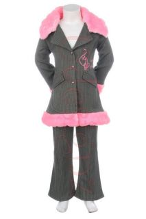 BABY PHAT PINK GRAY PINSTRIPE PEA COAT PANTS SET