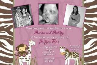 Cocalo Jacana Monkey Zebra Baby Shower Invitations
