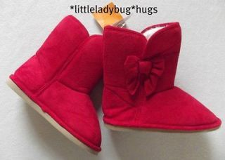 NWT Gymboree COZY CUTIE Red Sherpa Boots Faux Fur Lined Size 2 Youth