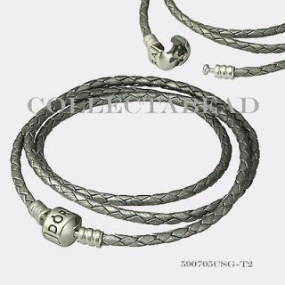 Authentic Pandora Silver Medium Triple Grey Leather Bracelet