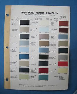 1966 Ford Dupont Exterior Colors paint chip