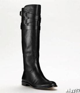 SASSY COACH BLACK NAPPA LEATHER CAYDEN RIDING BOOTS 8