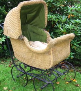 Whitney Wicker Baby Buggy Pram Baby Carriage w/Old Hand Made Doll