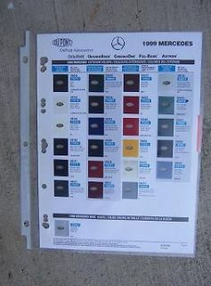 Mercedes Auto Color Paint Chip Sample Chart DuPont Automotive Car J