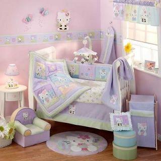& Purple Hello Kitty Baby Girl Nursery Crib Bedding Comforter Set