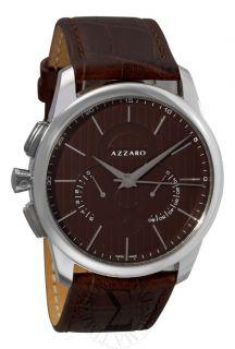 Azzaro Mens Legend Chrono Havana Leather Strap Retrograde Watch AZ2060