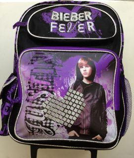 Large 16in JUSTIN BIEBER BEIBER Rolling Backpack Wheels