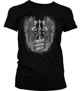 Skeletons With Double Axe Skull Gothic Indian Tribal Tribe Mens T