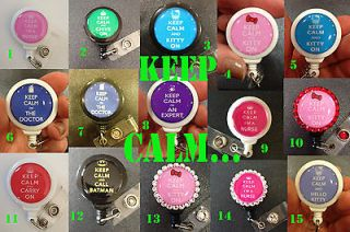 Keep Calm ID badge holder with retractable reel / name badge holder