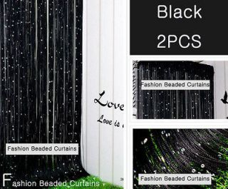Black Beaded Curtains Panel Fringe Room Divider 2PCS Add Romantic to