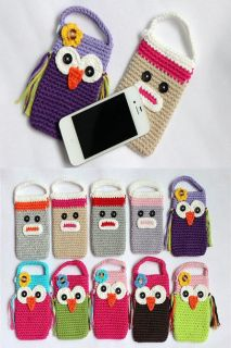 Cute Owl Sock Monkey Handmade Knit Cell Phone Bag Covers Girls New 10