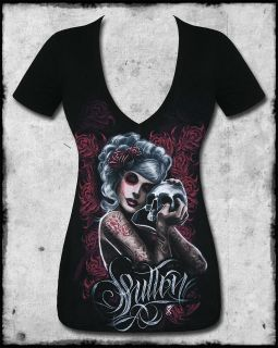 SULLEN ANGELS MOURNING GLORY BLACK RED SKULL ROSE TATTOO V NECK TEE T